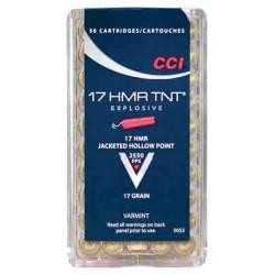 CCI AMMO .17HMR 2550FPS. 17GR. TNT-HP 50-PACK