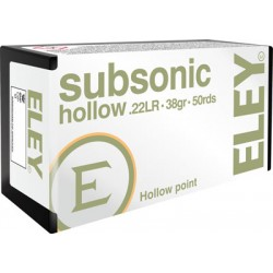 ELEY SUBSONIC HOLLOW POINT 22LR 38GR. 50 PACK