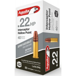 AGUILA AMMO .22LR CASE LOT INTERCEPTOR 40GR LDHP 1000RD