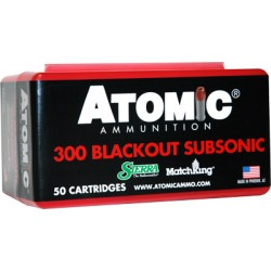 ATOMIC AMMO .300AAC BLACKOUT SUB-SONIC 220GR. HPBT 50-PACK