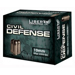 LIBERTY AMMO CIVIL DEFENSE 10MM AUTO 60GR. HP 20-PACK