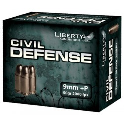 LIBERTY AMMO CIVIL DEFENSE 9MM LUGER 50GR. HP 20-PACK