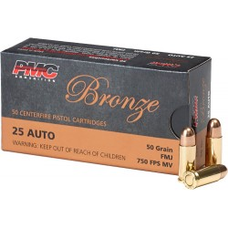 PMC AMMO .25ACP 50GR. FMJ-RN 50-PACK