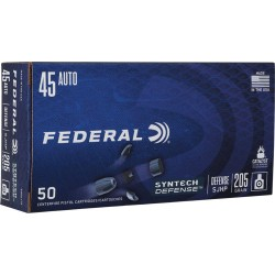 FED AMMO .45ACP 205GR. SYNTHECH DEFENSE SJHP 50-PACK