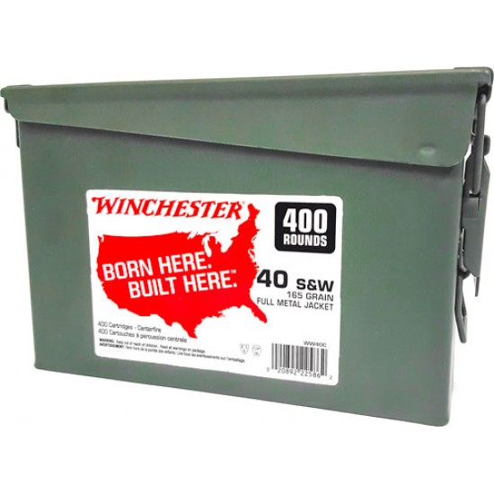 WINCHESTER AMMO .40SW (CASE OF 2) 165GR FMJ-TC AMMO CAN 400PK