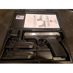 USED RUGER SR9 9MM STAINLESS SLIDE W/2 MAGS AND CASE